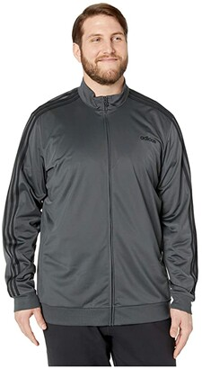 adidas Big Tall Essentials 3-Stripes Tricot Track Jacket (Dark Grey Heather/Solid Grey/Black 1) Men's Workout