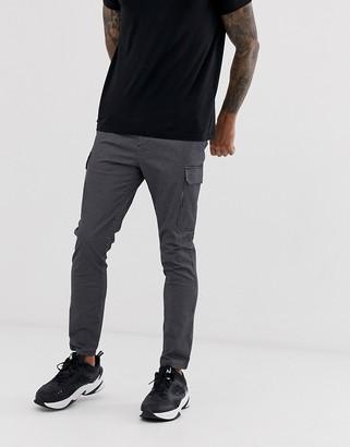Asos Design DESIGN skinny cargo trousers in grid check-Black