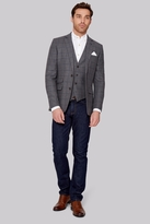 Moss Bros Tailored Fit Grey with Navy Windowpane Jacket