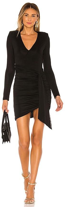 Alice + Olivia Kyra Deep V Drapey Mini Dress