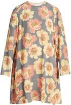 Raey Displaced-sleeve giant-floral print trapeze dress