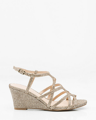 Le Château Glitter Mesh Open Toe Strappy Wedge Sandal