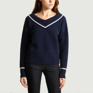 agnès b. Navy Wool V Neck Sweater - 1   wool   navy - Navy