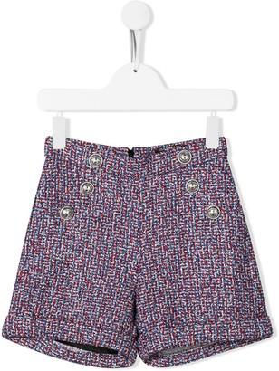 Balmain Kids Button-Embellished Metallic Shorts