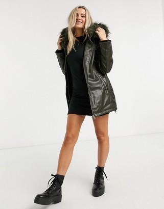 Urban Bliss faux-fur hood parka in khaki