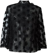 Simone Rocha semi sheer floral applique blouse