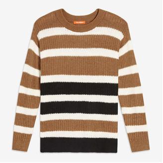 Joe Fresh Women's Stripe Sweater, Tan (Size XS)