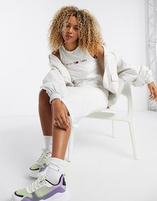 Tommy Jeans logo sleeveless jersey dress in white