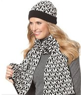 Michael Kors Women's Logo Knit Scarf & Beanie Hat Set, Black / White