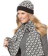 Michael Kors Women's Logo Knit Scarf & Beanie Hat Set, Black / White