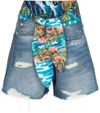 R 13 Jasper tie-waist denim shorts