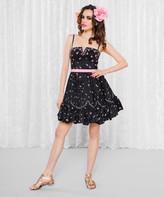 Scalloped Rosebuds Fit & Flare Dress