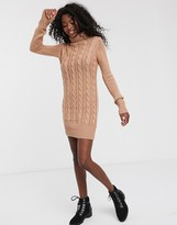 Brave Soul roll neck cable knit sweater dress in dusty pink