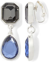 Liz Claiborne Blue and Black Stone Silver-Tone Clip-On Drop Earrings