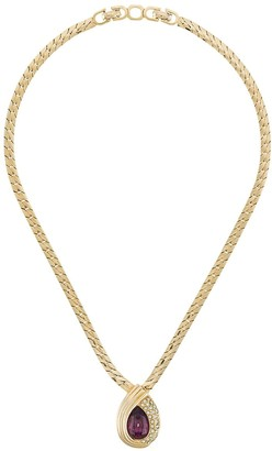 Christian Dior Pre-Owned 1980's pear-cut pendant necklace