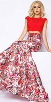 Mac Duggal Cap Sleeve Kaleidoscope Print Two Piece Trumpet Dress