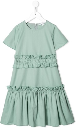 Owa Yurika Ruffle Trim Tiered Dress