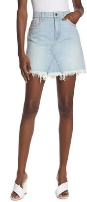 7 For All Mankind Frayed Denim Mini Skirt