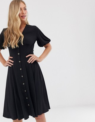 French Connection button through midi dress-Black