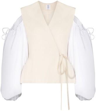 Rosie Assoulin Cold Shoulder Wrap Blouse
