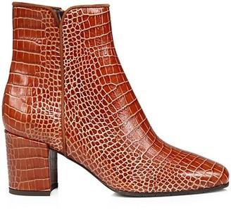 Aquatalia Denisse Croc-Embossed Leather Ankle Boots