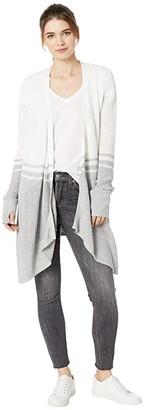 bobi Los Angeles Black Contour Stitch Cardigan (White/Light Grey) Women's Clothing