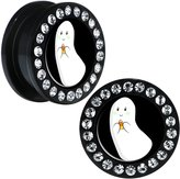 Body Candy Black Acrylic Candy Corn Ghost Screw Fit Plug Pair 20mm