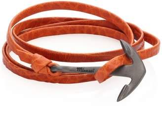 Miansai Rhodium-Plated Anchor Leather Wrap Bracelet