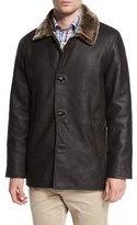 Peter Millar Cortina Leather & Shearling Fur Coat, Espresso