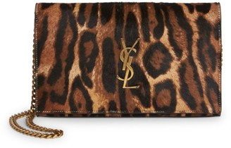 Saint Laurent Monogram Leopard-Print Calf Hair & Leather Wallet-On-Chain