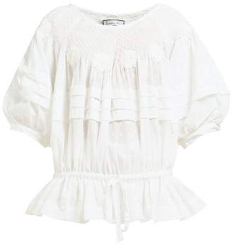 Innika Choo Floral Embroidered Fil Coupe Ramie Blouse - Womens - White