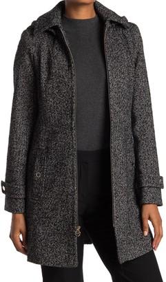 Michael Kors Zip Front Wool Blend Hooded Coat