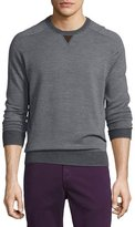 Peter Millar Sueded-Trim Crewneck Sweater, Charcoal