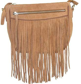 Vicenzo Leather Women's Donata Suede Fringe Cross Body Bag