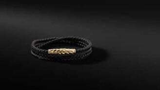 David Yurman Chevron Triple-Wrap Bracelet In Black Leather And 18K