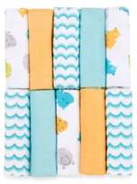 Just Born Just Bath by Just BornTM Love to Bathe 10-Pack Knit Washcloth in Hippo/Aqua and Orange