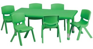 """Adjustable 7 Piece Rectangle Activity Table & 20""""H Chair Set Offex"""