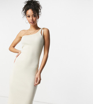 4th & Reckless Tall knit one shoulder chain strap detail midi dress in cream