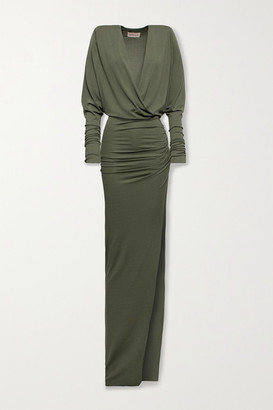 Alexandre Vauthier Ruched Stretch-jersey Gown - Army green