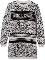 Roberto Cavalli Grey and Black Leopard Print Logo Jumper Dress