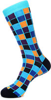 Jared Lang Square-Print Cotton-Blend Socks, Blue Pattern