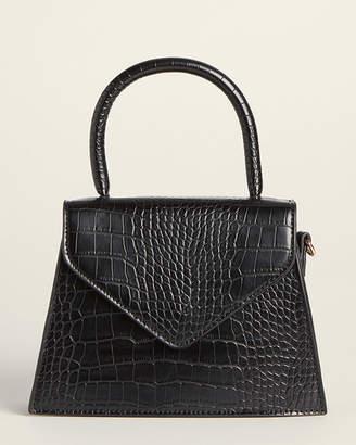 Street Level Black Croc-Embossed Satchel