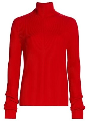 St. John Ribbed Turtleneck Wool Sweater