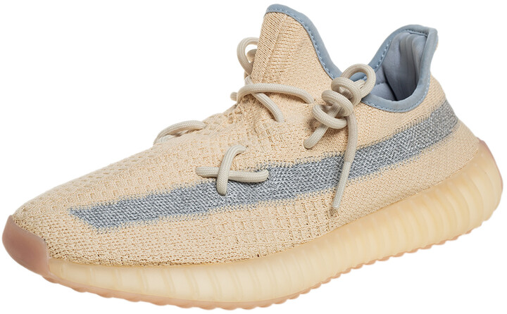 Yeezy x adidas Beige/Grey Knit Fabric Boost 350 V2 Linen Sneakers Size 42