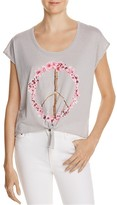 Chaser Tie-Front Peace Sign Graphic Tee