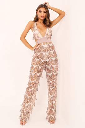 I SAW IT FIRST Rose Gold Plunge Sequin Jumpsuit