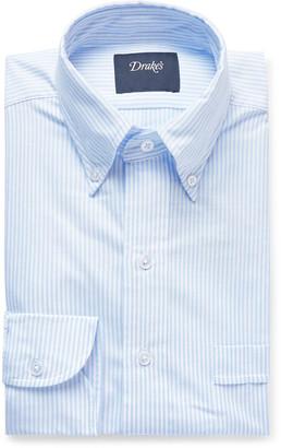 Drakes Sky-Blue Button-Down Collar Striped Cotton Oxford Shirt