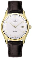 Edox Men's 80086 37J AID WRC Automatic Gold PVD Stainless Steel Brown Leather Date Watch