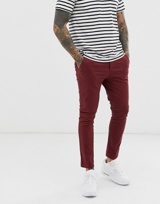 Asos Design DESIGN super skinny cropped chinos in burgundy-Red