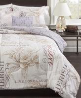 Idea Nuova Ivory Floral Live Laugh Love Five-Piece Comforter Set